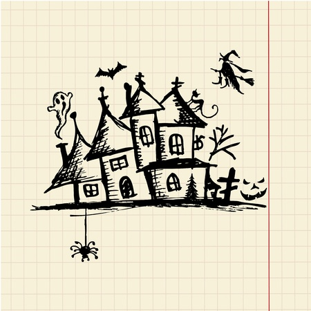 Old mystery house, halloween night Vector