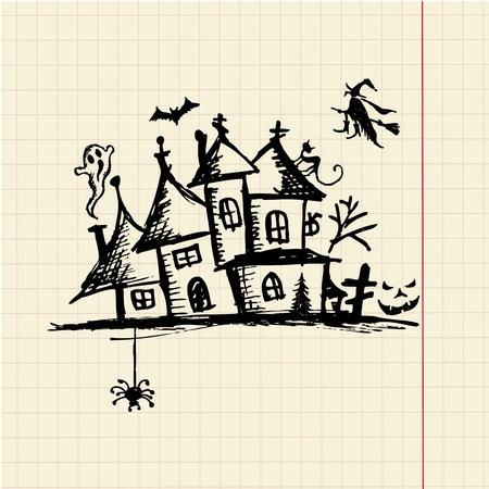 Old mystery house, halloween night Vector