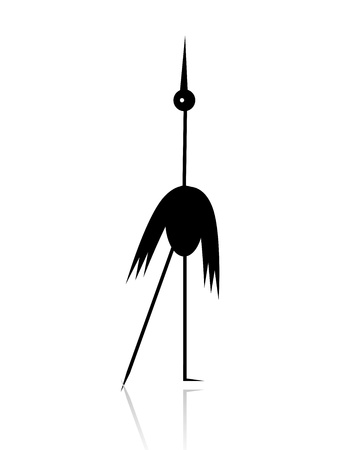 Funny stork black silhouette for your design  イラスト・ベクター素材