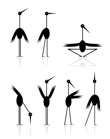 black stork: Funny storks collection for your design