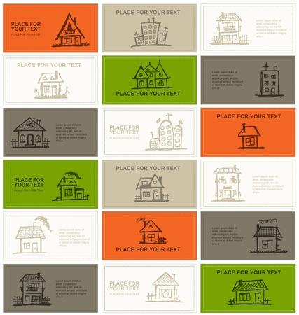 visitekaartje: Visitekaartjes met huizen voor uw ontwerp Stock Illustratie