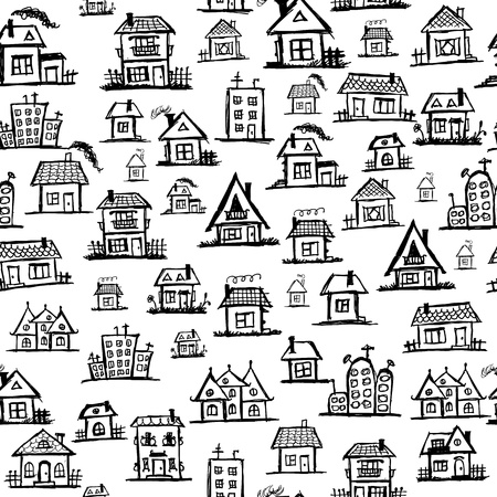 Art houses, seamless background for your design Stock Vector - 11009523