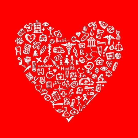 Medical design elements in heart shape Vector