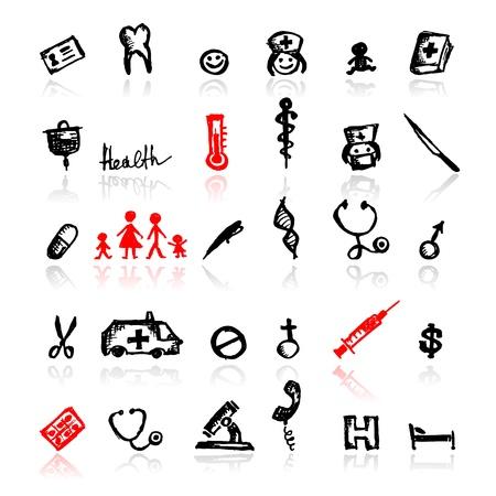 seringues: Ensemble d'ic�nes m�dicales, esquisse pour la conception de votre