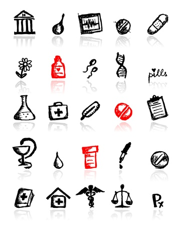 Set of medical icons, sketch for your design Vector