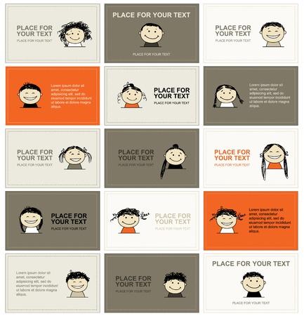 visitekaartje: Set van visitekaartjes met gezichten voor uw ontwerp Stock Illustratie