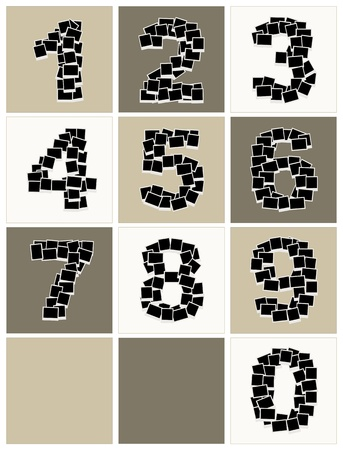 photo collage: Numbers made from photo frames, insert your photos