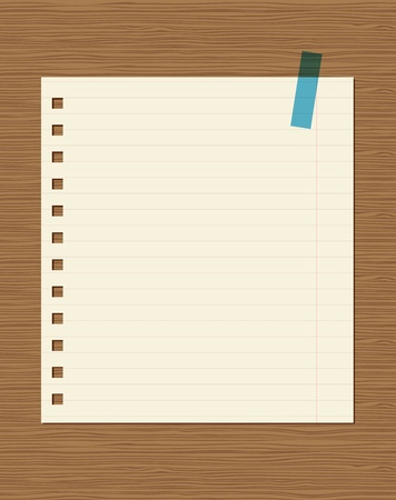 Lined paper of notebook on wooden wall, insert your text Stock Vector - 11009470