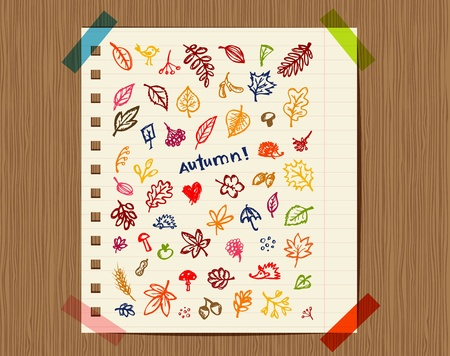 illustration notepad: Autumn background, sketch drawing for your design