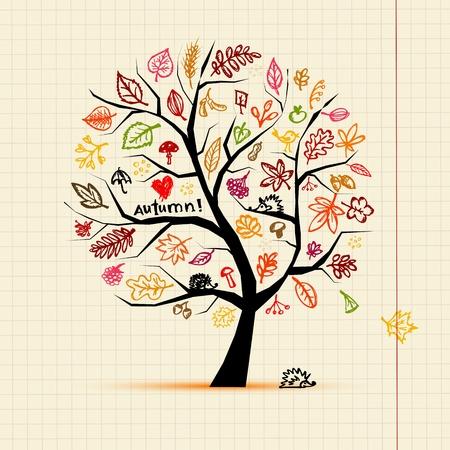 eberesche: Herbst Baum, Skizze, Zeichnung f�r Ihre Konstruktion