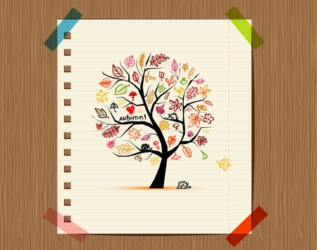 love birds: Autumn tree, sketch drawing for your design