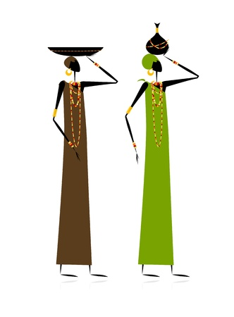 Ethnic women with jugs Vector