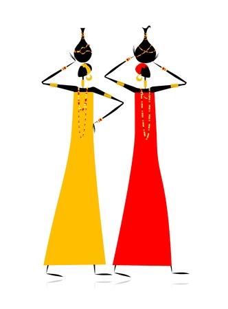 ilustraciones africanas: Mujeres de grupos étnicos con jarras Vectores