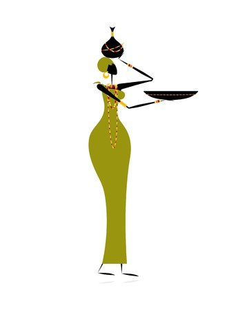 Ethnic woman with crock Illustration