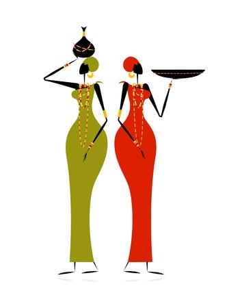 tribal design: Ethnic women with jugs