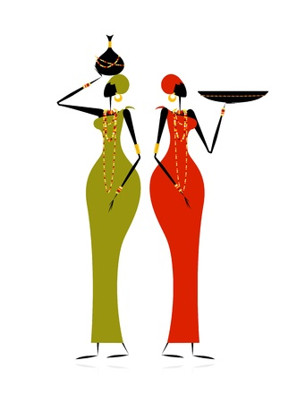 africano: Mujeres de grupos étnicos con jarras Vectores