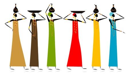 etnia: Mujeres de grupos étnicos con jarras Vectores