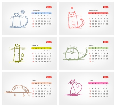 Vector calendar 2012, july. Funny cats design Vector