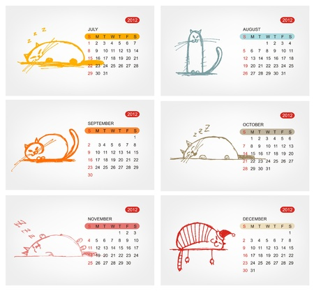 Vector calendar 2012, july. Funny cats design Stock Vector - 11264042