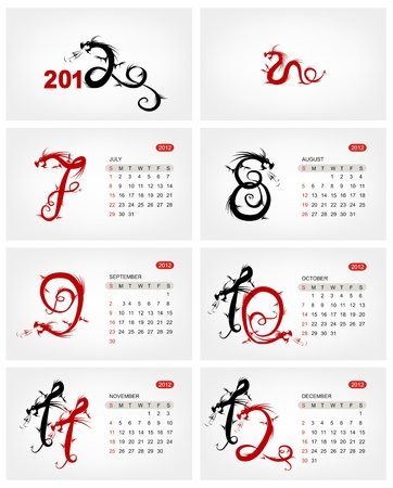 Vector calendar 2012, july. Dragons Stock Vector - 11263997