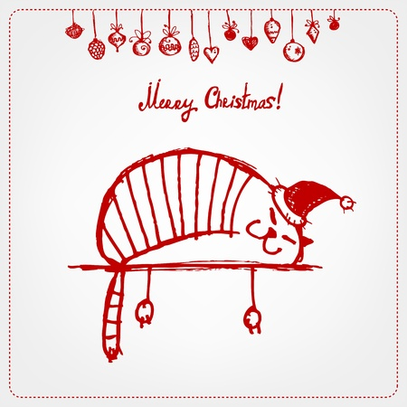 Christmas card, funny santa cat for your design Illustration