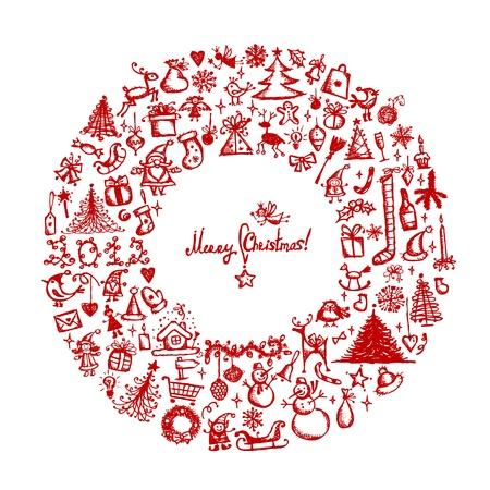 coronas navidenas: Corona de Navidad, dibujo boceto de su dise�o
