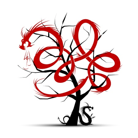 Art tree with dragons for your design Vector