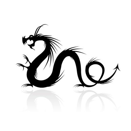 dragon tattoo: Dragon tattoo vector illustration for your design