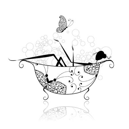 バスルームには、設計のための泡の女