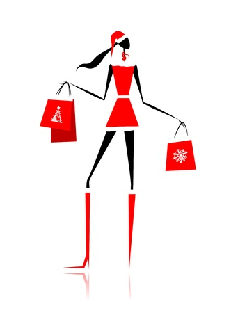 Christmas shopping, santa girl with gifts Vector