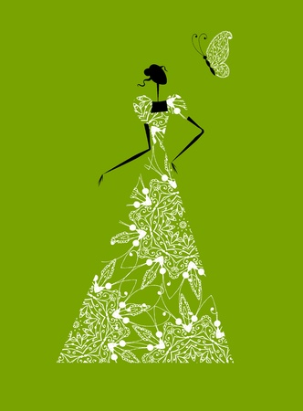 Fashion girl silhouette in wedding dress for your design Vector
