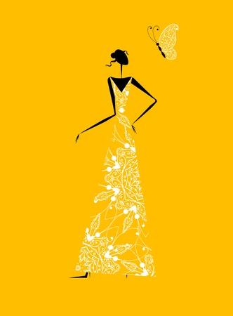 Moda silueta niña en traje de novia para su diseño