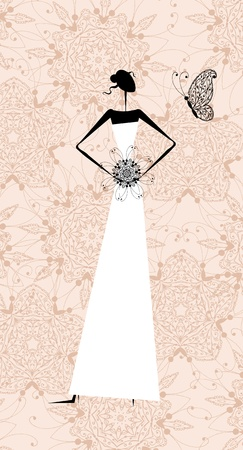 Fashion girl silhouette in wedding dress for your design Stock Vector - 11264007