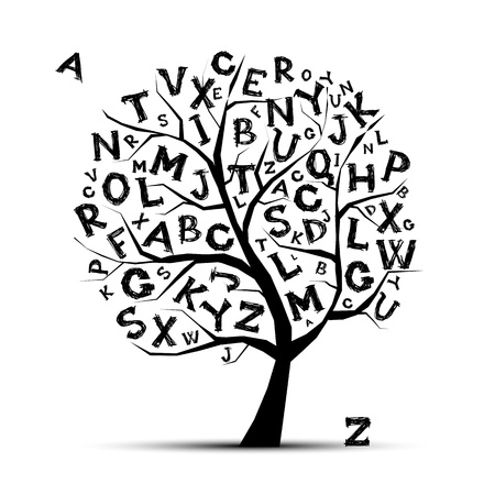 learn english: Art tree with letters of alphabet  for your design