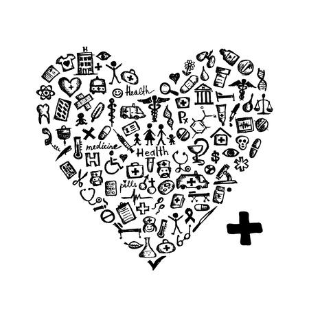 iconos medicos: Forma de coraz�n con los iconos de m�dicos para su dise�o