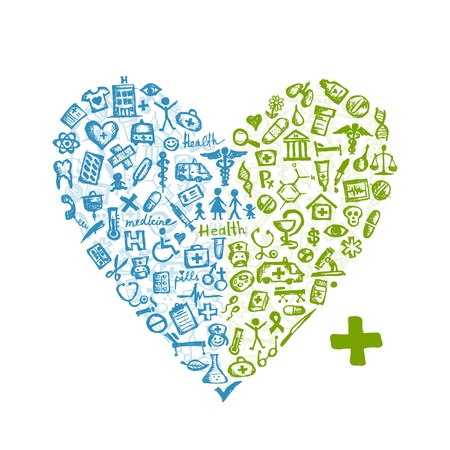 nurse injection: Forma di cuore con le icone mediche per la progettazione