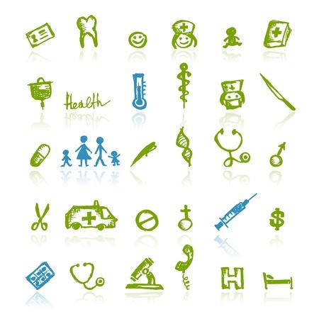 medicina ilustracion: Los iconos de m�dicos para el dise�o de su