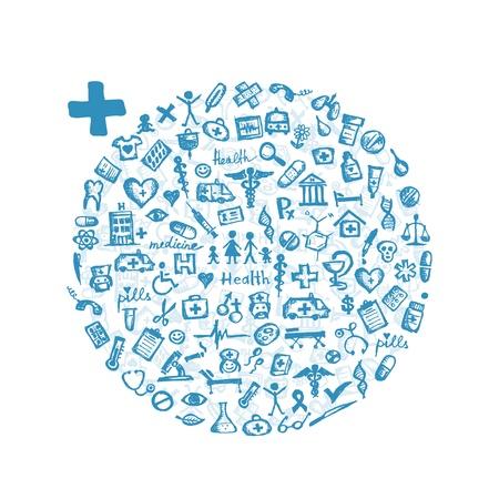 nurse injection: Telaio con icone mediche per la progettazione