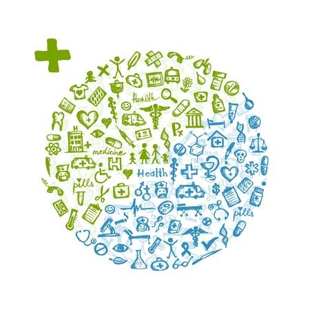 medical syringes: Telaio con icone mediche per la progettazione