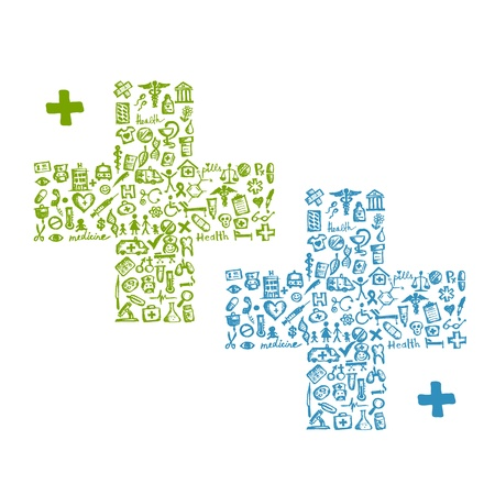 pharmacy symbol: Cross shape with medical icons for your design