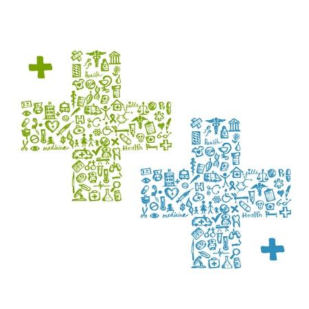 pharmacy icon: Kreuzform mit medizinischen Symbole f�r Ihr Design Illustration