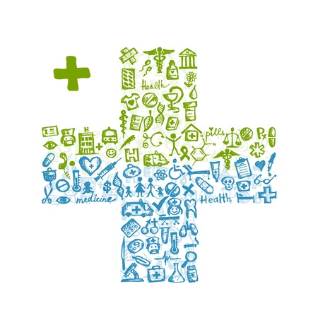 Cross shape with medical icons for your design Stock Vector - 11263996