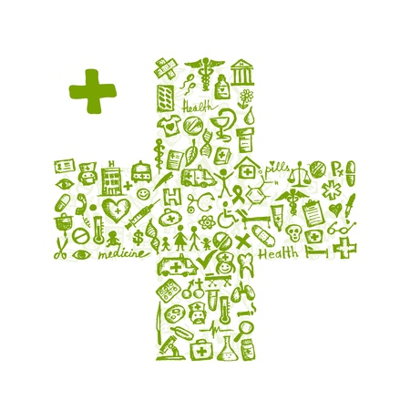 medical icons: Cross shape with medical icons for your design