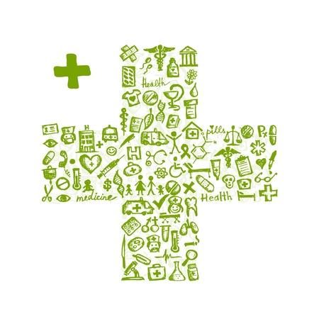 iconos medicos: Cruz forma con los iconos de m�dicos para su dise�o Vectores