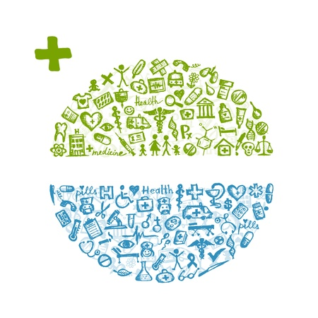 pharmacy icon: Rahmen mit medizinischen Symbole f�r Ihr Design