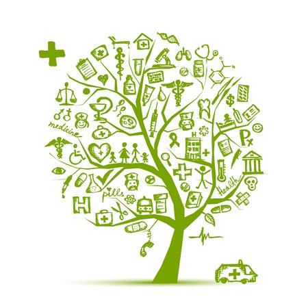 infirmi�re seringue: Concept d'arbre m�dicale pour la conception de votre
