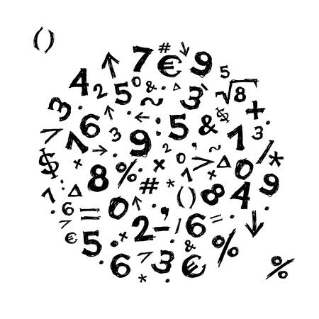 simbolos matematicos: Sketch cuadro con los símbolos matemáticos para el diseño de su Vectores