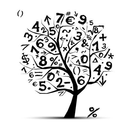 Arte árbol con los símbolos matemáticos para el diseño de su