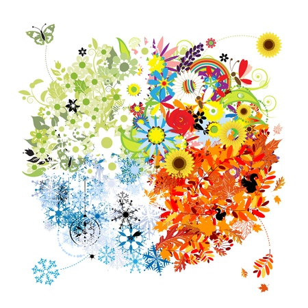 Four seasons - spring, summer, autumn, winter.  Vector