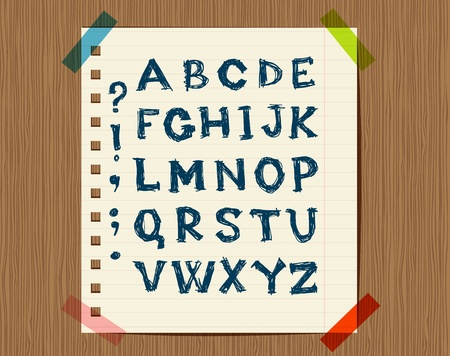 english text: Sheet with sketch of letters symbols for your design